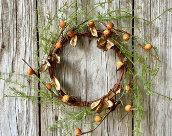 Fall Wreath with Cotton Hulls, Pods and Greenery