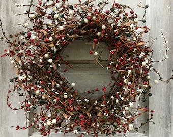 Christmas Wreath with Red, Hunter and Cream Pip Berries