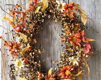 Fall Wreath with Bittersweet, Mums, Mini Pumpkins and Berries