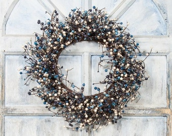 Pip Berry Wreath with Blue and Black Berries, Storm Door Wreath, Front Door Wreath, Shabby Chic Decor, Country Decor, Primitive Decor
