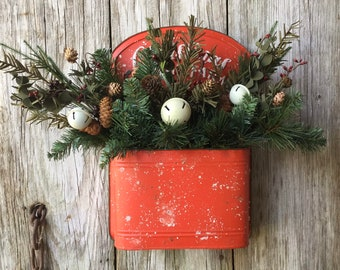 Christmas on the Farm Post Box with Winter Pine and White Bells