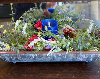 Summer Centerpiece with Red, White and Blue Flowers and Flameless Candle