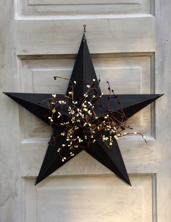 Primitive Star With Pip Berries Country Star Decor Metal Star Decor Rustic Star Pip Berry Decor Patriotic Decor Free Shipping