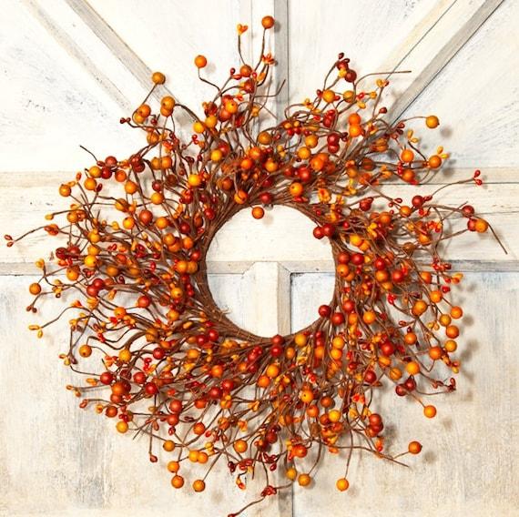 Orange Pip Berry WreathLarge Candle Ring Mini