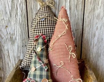 Set of 3 Fabric Christmas Trees