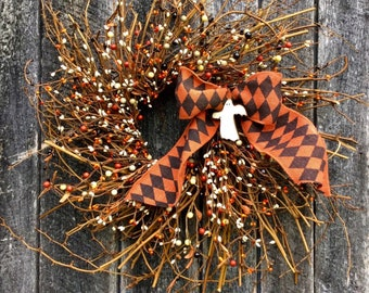 Halloween Wreath with Pip Berries and Ghost Ornament