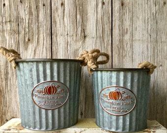 Set of 2 Pumpkin Patch Buckets