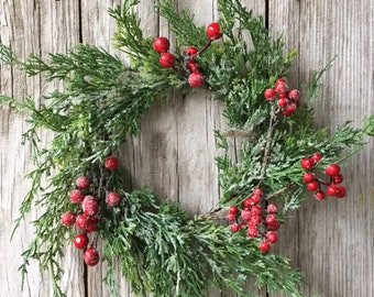 Iced Cedar Wreath with Red Berries
