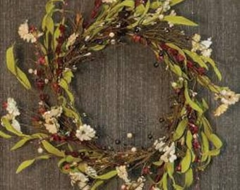 Tea Stained Country Flower Wreath