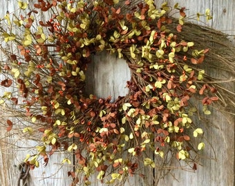 Extra Large Fall Twig Wreath with Fall Boxwood and Mini Pumpkins