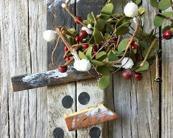Primitive Lathe Snowman with Winter Greenery and Berries