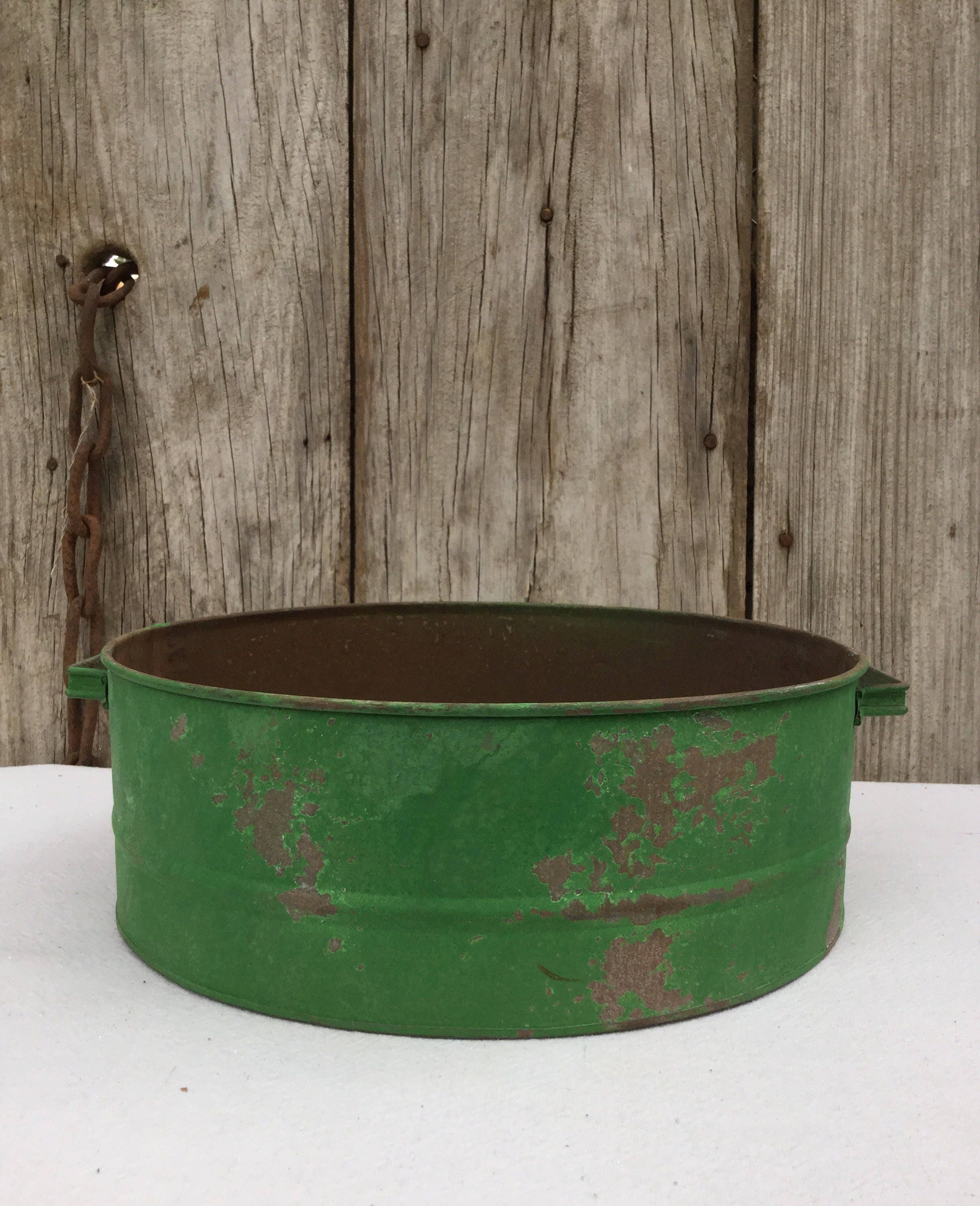 Rustic Tin Basin With Distressed Green Finish Primitive