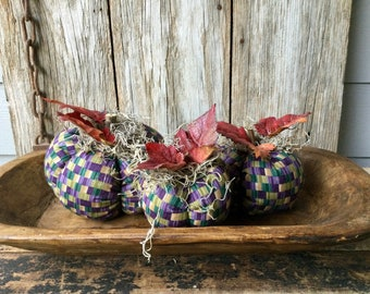 Set of 3 Purple and Tan Scented Fabric Pumpkins