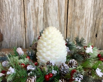 Flocked Pine Winter Candle Ring with Red Berries and Pine Cones