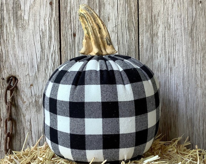 Featured listing image: Black and White Buffalo Check Fabric Pumpkin with Stem