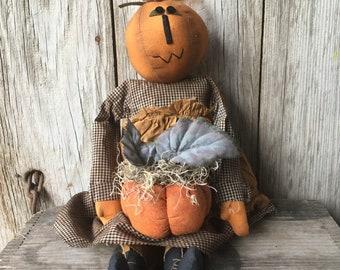 Primitive Stuffed Pumpkin Head Doll with Pumpkin with Primitive Pumpkin