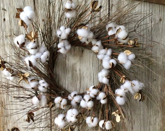 Twig and  Cotton Wreath
