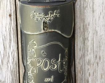 Distressed Black Metal Post Box, Post Box Floral Container, Outdoor Floral Container, Metal Post Box