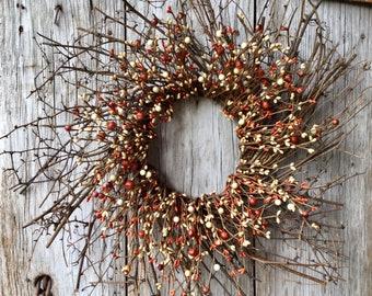 Pip Berry Wreath with Mini Pumpkin Berries