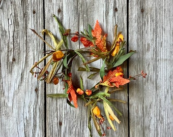 Fall Maple Leaf and Chinese Lantern Candle Ring