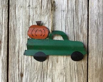 Green Truck with Pumpkin Ornament
