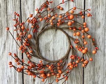 Orange Mixed Berry Wreath