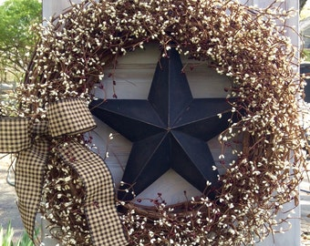 Patriotic Wreath with Burgundy and Cream Pip Berries and Black Barn Star
