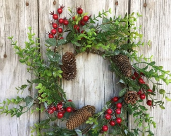 Christmas Berry Candle Ring or Mini Wreath