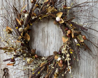 Extra Large Fall Wreath with Pip Berries, Acorns and Fall Leaves