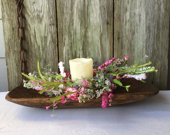Spring Centerpiece with Large Dough Bowl, Flameless Candle and Spring Candle Ring