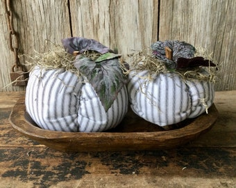 Set of 2 White and Gray Scented Fabric Pumpkins