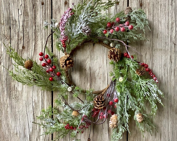 Featured listing image: Winter Pine and White Jingle Bell Wreath