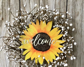 Sunflower Welcome Sign with White Berries
