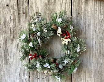 Winter Pine and Red Jingle Bell Wreath
