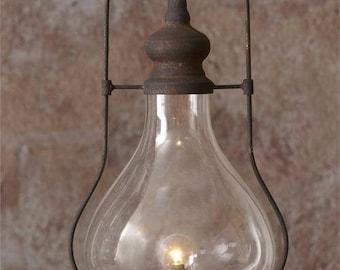 Primitive Hurricane Lantern with LED Light
