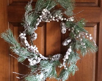 Snowy Pine Wreath with White Berries and Pine Cones