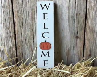 Mini Fall Welcome Sign with Pumpkin, Fall Welcome, Wood Sign, Fall Shelf Sitter