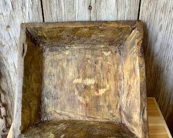 Square Wood Dough Bowl, Wood Bowl Centerpiece, Carved Wood Bowl, Primitive Decor, Primitive Wood Bowl, Rustic Bowl, Farmhouse Bowl
