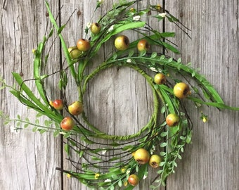 Wildflower and Berry Wreath with Greenery