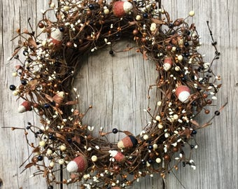 Fall Wreath with Primitive Candy Corn and Pip Berries