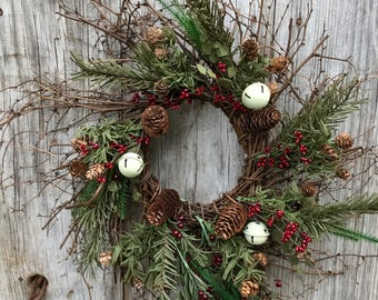 Christmas Twig Wreath with Pine Stems, Red Berries and Cream Jingle Bells