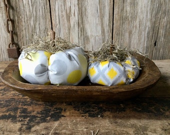 Gray and Yellow Scented Fabric Pumpkins