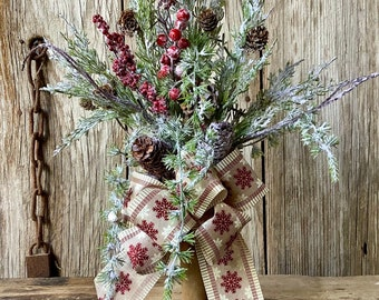 Christmas Centerpiece in Vintage Bobbin with Flocked Evergreens, Pine Cones and Berries