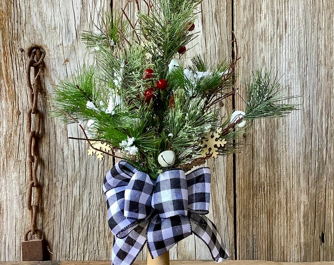 Featured listing image: Christmas Centerpiece in Vintage Bobbin with Evergreens, Jingle Bells, Pine Cones, Berries and Snowflakes