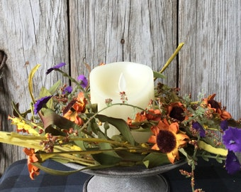 Pedestal Candle Holder with Summer Flowers Candle Ring