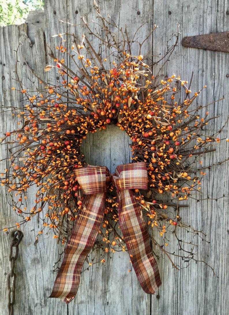 Halloween Wreath Thanksgiving Wreath Fall Wreath Primitive Wreath Rustic Wreath Country Wreath Autumn Wreath Orange Wreath