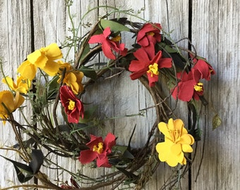 Rustic Fall Candle Ring with Red and Yellow Flowers