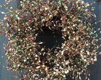 Fall Wreath with Orange, Green and Burgundy Pip Berries