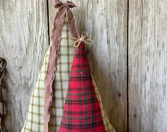Set of 2 Fabric Christmas Trees