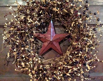 Patriotic Wreath with Barn Stars and Mulberry Pip Berries, Americana Wreath, Primitive Wreath,4th of July Wreath,Country Decor,Free Shipping